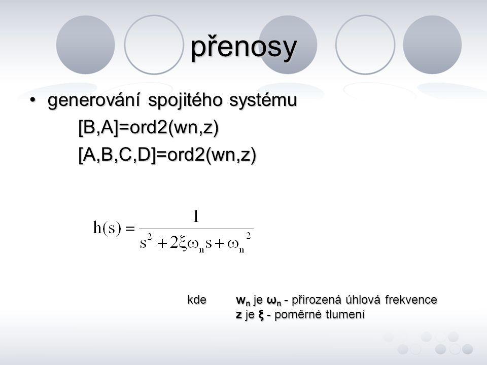 přenosy generování spojitého systému [B,A]=ord2(wn,z)